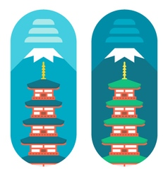 Flat design Chureito pagoda vector image