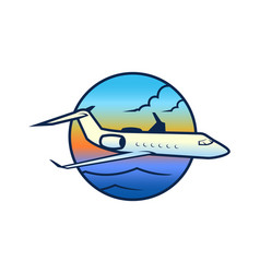 Flying plane in the sky under the sea vector