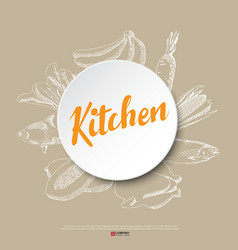 Food hand draw poster vector