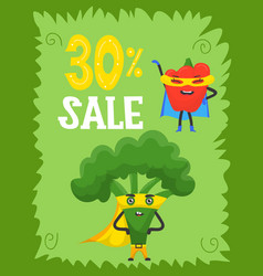 funny vegetables hero and sale superhero vector image