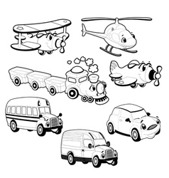Funny vehicles in outline vector
