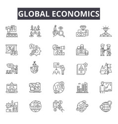 global economics line icons for web and mobile vector image