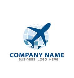 globe logo with plane icon vector image