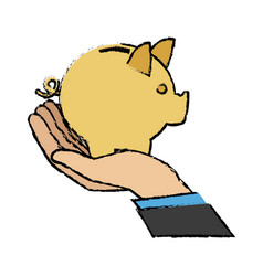 Hand business man holding piggy bank image vector