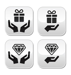 Hands with present and diamond buttons set vector image