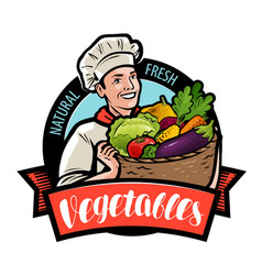 Happy cook is holding a wicker basket with vector