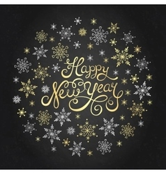 Happy New Year hand lettering for invitation and vector image