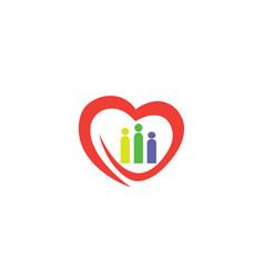 heart family caring association icon logo vector image