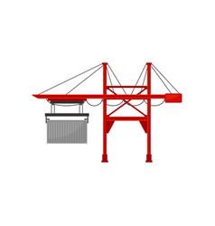 industrial port and cargo harbor crane vector image