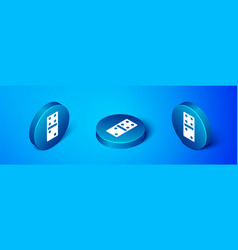 Isometric domino icon isolated on blue background vector