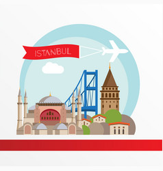 Istanbul turkey detailed city skyline greatest vector