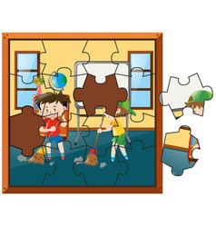 Jigsaw puzzle game with two boys sweeping floor vector