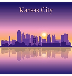 Kansas City silhouette on sunset background vector