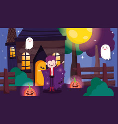Kids costume trick or treat happy halloween vector