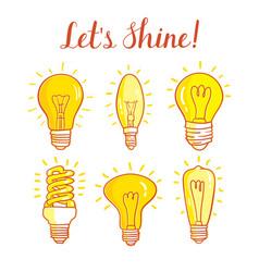 Light bulb and led lamp set lightbulbs vector