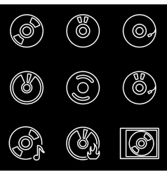 Line cd icon set vector