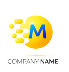 M letter splash yellow dots and circle bubble vector