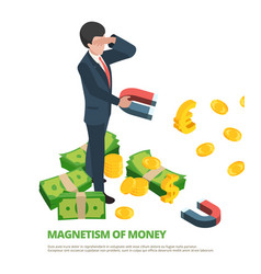 magnet money business connection financial dollar vector image
