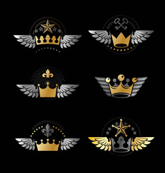 majestic crowns and ancient stars emblems set vector image