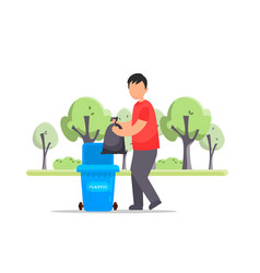 man hand throws garbage into a plastic bottle vector image