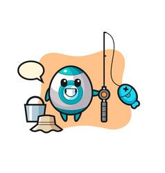 Mascot character rocket as a fisherman vector