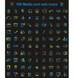 Mega media set of 100 icons vector image