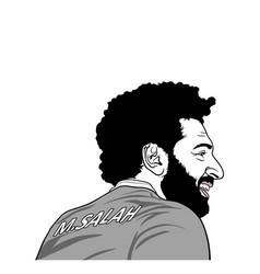 Mohamed salah black and white portrait editorial vector