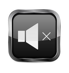 Mute button black glass 3d icon vector