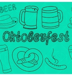 Oktoberfest seamless pattern Hand drawn vector image