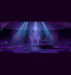 Old circus arena at night abandoned round stage vector