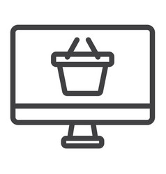 Online shopping line icon basket and pc vector