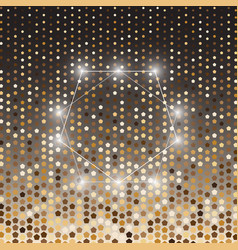Pentagon gold halftone dot abstract background vector