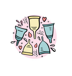 Period cup with handdrawn vector