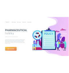 Pharmaceutical policy concept landing page vector