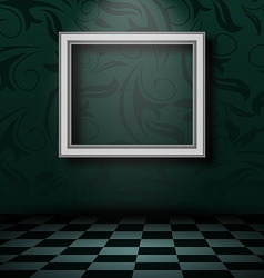 Picture frame in dark empty interior vector