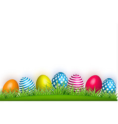 realistic decorated easter egg green grass vector image