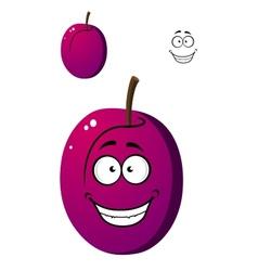 Ripe purple plum fruit vector