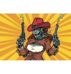Robot woman gangster steampunk wild West vector image