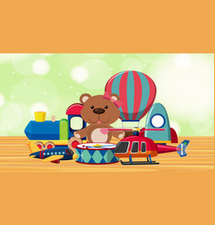 Room with cute toys on wooden floor vector