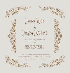 royal wedding invitation card template vector image