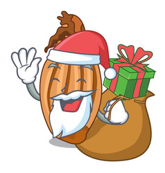 Santa with gift shallot in a glass bowl cartoon vector