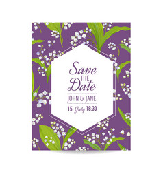 Save the date card with lily valley flowers vector