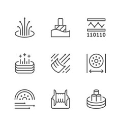 set line icons optical fiber vector image