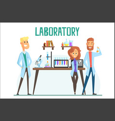 Smiling scientists man and woman working in a lab vector