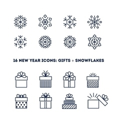 Snowflakes and gifts outline icons set for new vector