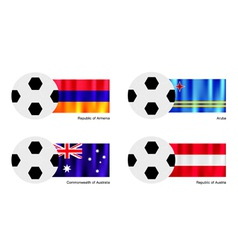 Soccer Ball with Armenia Aruba Australia flag vector image