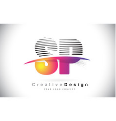 Sp s p letter logo design with creative lines vector