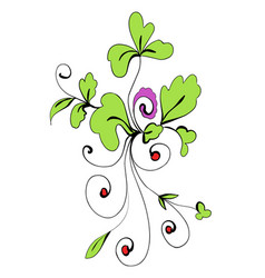 Stock drawing plants with red berries vector