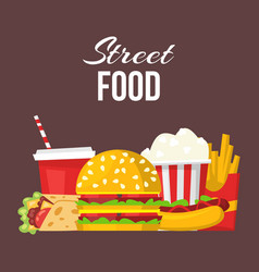 Street fast food posters or banner vector