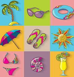 Summer holidays seaside beach icons set vector